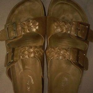 Madeline Stewart Gold Leather Slip-On Sandals